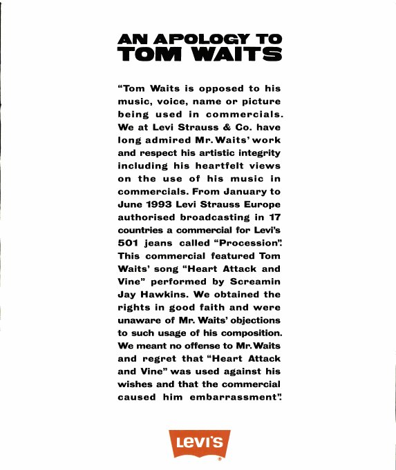 Levi's 1995 Apology to Tom Waits