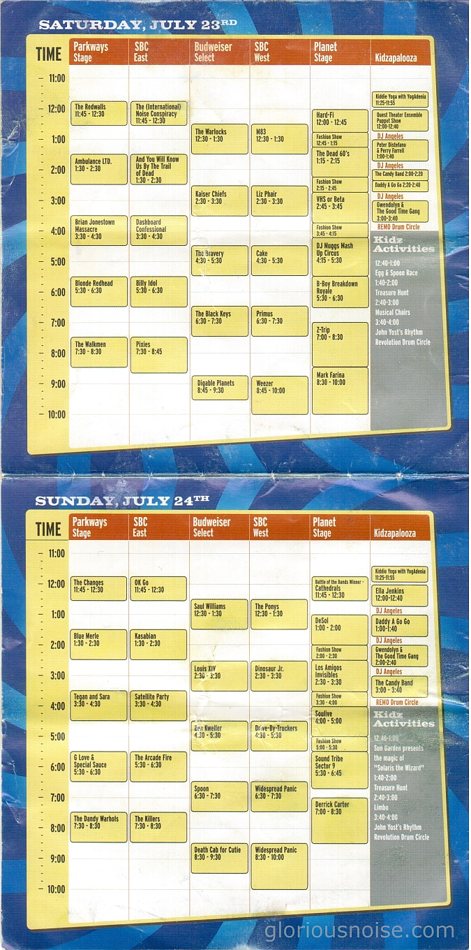 Lollapalooza 2005 schedule (click for full size)