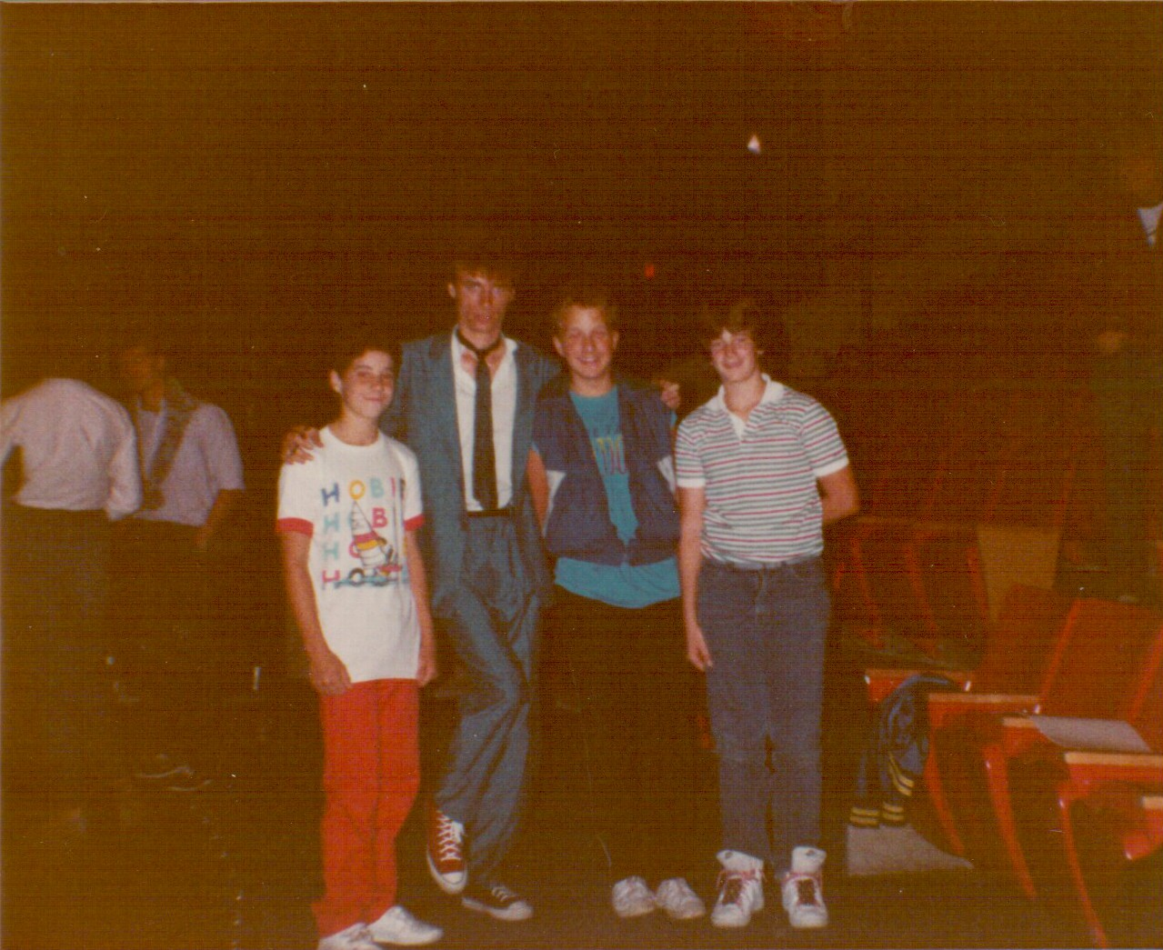 Left to right: Me, Steve Taylor, and my two friends from school. Photo by my mom.