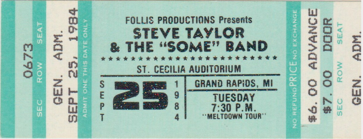 Steve Taylor ticket stub 1984