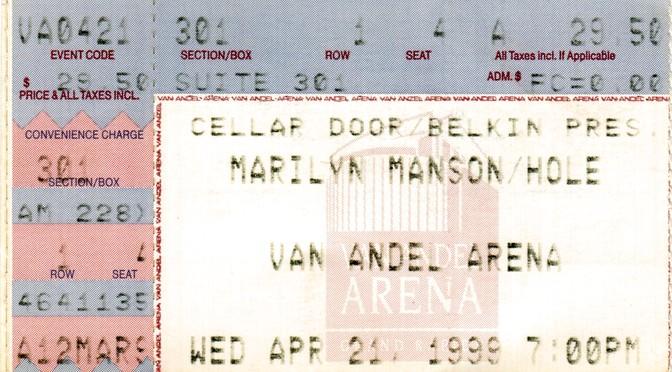 Ticketstubs: Marilyn Manson in Grand Rapids, 1999